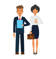 business office team cartoon flat vector image