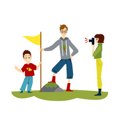 cartoon family hiking - man in proud pose putting vector image