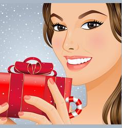 christmas girl with gift box vector image vector image