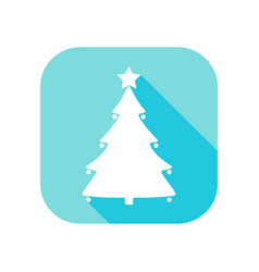 christmas tree flat icon with long shadow contour vector image
