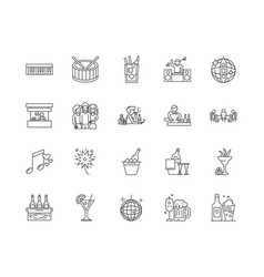 club line icons signs set outline vector image