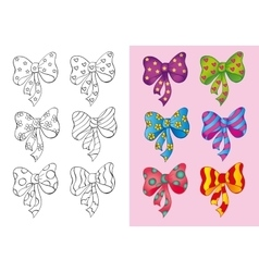 Coloring Book Of Set Different Bows vector image