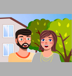 Couple man and woman at family villa house vector