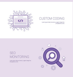 Custom coding and seo monitoring template web vector