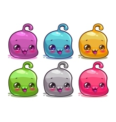 Cute cartoon colorful kawaii characters set vector image