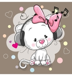 Cute cartoon kitten with headphones vector