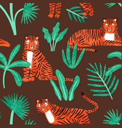 cute tiger with tropical plants seamless pattern vector image