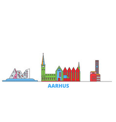 Denmark aarhus line cityscape flat vector