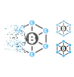 Disappearing dotted halftone bitcoin euro network vector