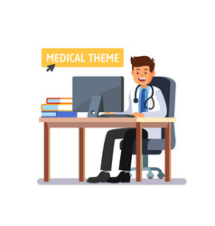 Doctor sitting at the table working on computer vector