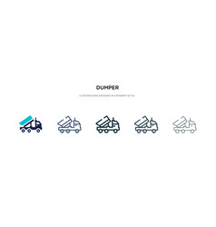 Dumper icon in different style two colored and vector