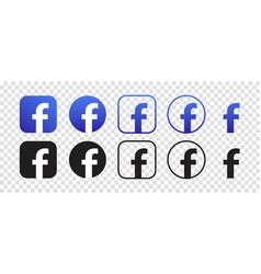Facebook logo icon set vector