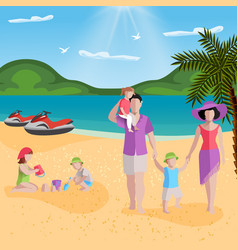 family rest in lagoon composition vector image