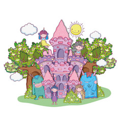 fantastic girls creatures in the castle with trees vector image