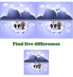 Find five differences penguin vector