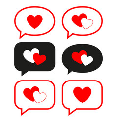 flat love messages set vector image
