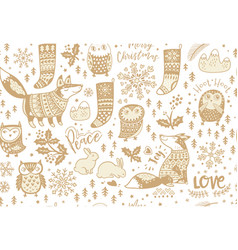 fox and owls snowflake and bunny mistletoe and vector image