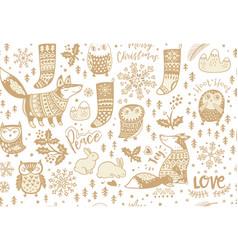 Fox and owls snowflake and bunny mistletoe vector