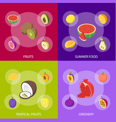 fruits and berries 3d banner set isometric view vector image