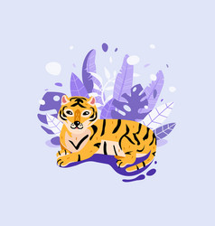 funny tiger with tropical leaves jungle animal vector image