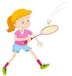 Girl with badminton racket and birdie vector