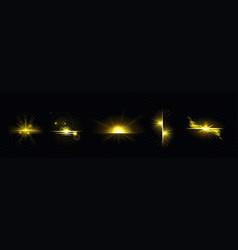 gold light sun radiant golden line sunburst set vector image