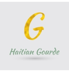 Golden Symbol of Haitian Gourde vector