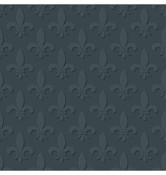 Gray fleur de lis royal lily seamless pattern vector