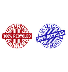 Grunge 100 percents recycled textured round stamps vector