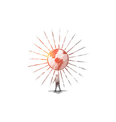hand drawn man holding shining globe vector image