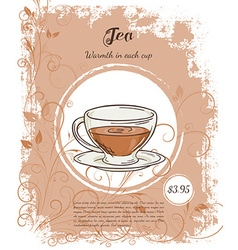 Hand drawn of drinks menu pages with cup of black vector