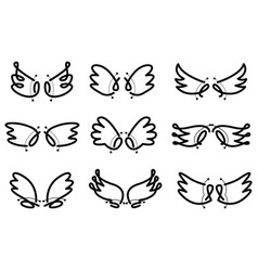 hand drawn set cute angel wing vector image
