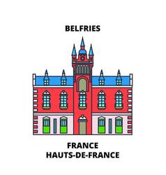 Hauts-de-france - belfries line travel landmark vector