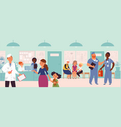 hospital visiting waiting line clinic interior vector image
