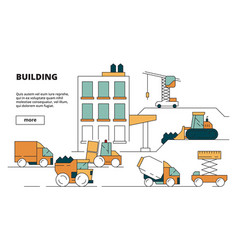 house construction heavy building machines linear vector image