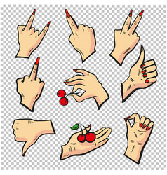 Human hands different pose signal human fingers vector