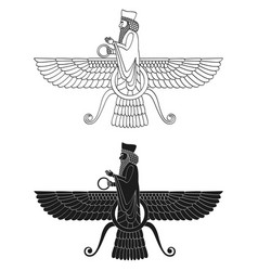 Icon with ancient egyptian symbol faravahar vector
