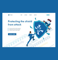 isometric businessmen hiding behind a shield vector image