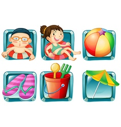 Kids and beach objects square badges vector