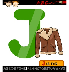 Letter j with jacket cartoon vector