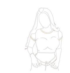 Line art fashion people vector