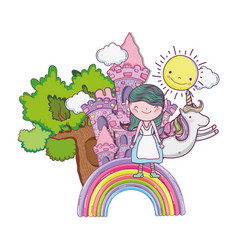 Little fairy with castle and unicorn in rainbow vector