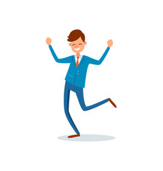 Man happy with achievements lucky businessman vector