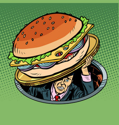man under fast food burger vector image
