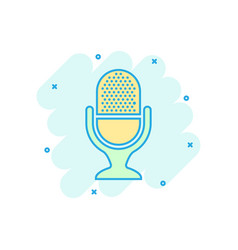 Microphone icon in comic style mic broadcast vector