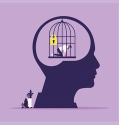 Mind prison psychological concept vector