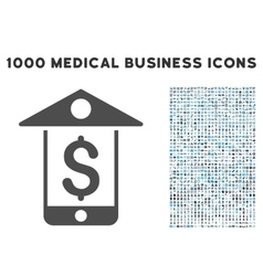 Mobile Bank Icon with 1000 Medical Business vector