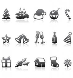 Monochrome Christmas icons vector