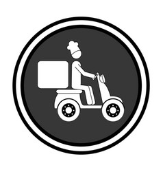 monochrome circular emblem with delivery man in vector image