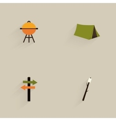 Mountain Camping Icons vector image